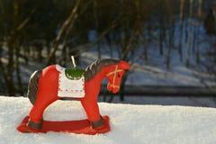 Caballo decorativo de la vela de la Navidad y del Año Nuevo Imagen de archivo libre de regalías