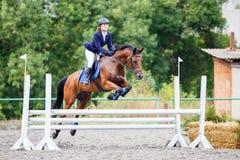 Caballo del alazán del montar a caballo de la chica joven en el salto de la demostración Fotografía de archivo