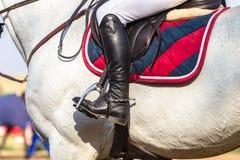 Caballo ecuestre Rider Boots Closeup Imagen de archivo