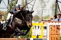 Caballo ecuestre Rider Jumping Represente mostrar a un competidor que se realiza en la competencia de salto de demostración foto de archivo