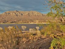 Caballo Lake in New Mexico. The Caballo Mountains behind Caballo Lake provide the perfect backdrop for a beautiful sunset stock images