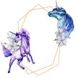Caballo lindo del unicornio Sistema del ejemplo del fondo de la acuarela Cuadrado del ornamento de la frontera del marco del Wate libre illustration