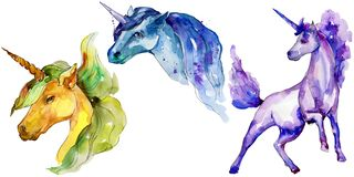 Caballo lindo del unicornio Sistema del ejemplo del fondo de la acuarela La acuarela de dibujo de la moda del Watercolour aisló stock de ilustración