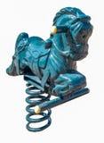 Caballo mecedora azul de la primavera del patio Imagen de archivo libre de regalías