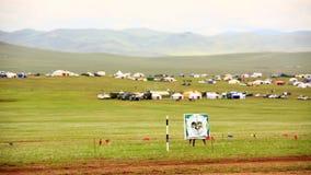 Caballo medieval Archer Shows, Mongolia almacen de video