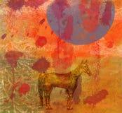 Caballo, noche, moon.4 enorme libre illustration