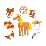 Caballo rodeado con el dibujo de Disguise Related Objects del vaquero en el fondo blanco Foto de archivo libre de regalías