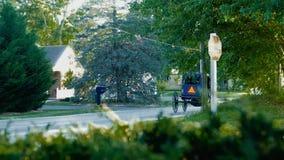 Caballo y cochecillo de Amish en última hora de la tarde