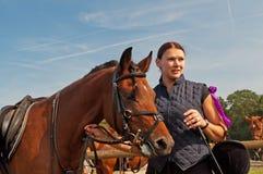 Caballo y Equestrienne Fotografía de archivo libre de regalías