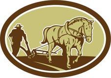 Caballo y granjero Plowing Farm Oval retro ilustración del vector