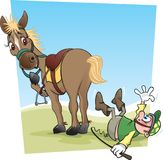Caballo y jinete Cartoon ilustración del vector