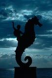 Caballo y jinete de mar en las nubes Imágenes de archivo libres de regalías