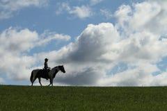Caballo y jinete en silueta Foto de archivo libre de regalías