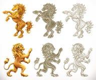 Caballo y león 3d y estilos del grabado Ilustración del vector libre illustration