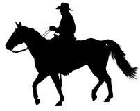 Caballo y Rider Silhouette Isolated occidentales foto de archivo libre de regalías