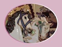 Caballos bonitos del carrusel Fotos de archivo libres de regalías
