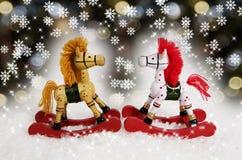 Caballos de oscilación de la Navidad Foto de archivo