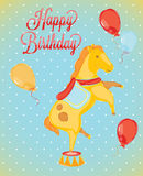 Caballos del circo del tarjeta-estilo del cumpleaños Fotografía de archivo libre de regalías