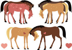 Caballos en amor stock de ilustración