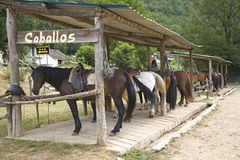 Caballos horse ranch near Ainsa, Aragon, in the Pyrenees Mountains, Province of Huesca, Spain Royalty Free Stock Images