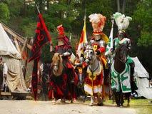 Caballos medievales de los caballeros Imagen de archivo libre de regalías