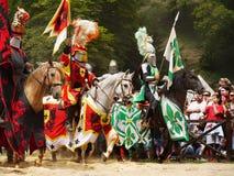 Caballos medievales de los caballeros Foto de archivo libre de regalías