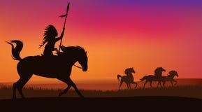 Caballos salvajes e indio Foto de archivo libre de regalías