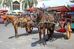 Caballos y carros o delman en la ciudad de Padang indonesia Imágenes de archivo libres de regalías