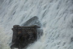 Caban Coch Dam. Is the lowest of the Elan Valley dams in Mid-Wales. Its hydro electric power and water supplies the city of Birmingham. This photo shows the dam Royalty Free Stock Photo