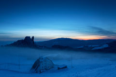 Caban in winter mountain on night Royalty Free Stock Photos