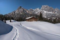 Cabana alpina idílico nos cumes Fotos de Stock