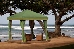 Cabana on the Beach. Green cabana on the beach at Hanalei Bay in Kauai Stock Photography