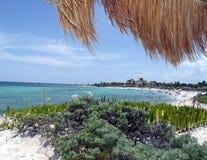 Cabana Beach. Under a cabana on the beach royalty free stock photography