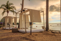 Cabana Bed On The Beach Stock Image