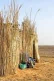 Cabana beduína cobrida com sapê no deserto marroquino Imagem de Stock Royalty Free