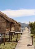 Cabana cobrida com sapê em um cais em Gam Islands, Raja Ampat imagem de stock