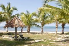 Cabana com cadeiras e palmeiras na paisagem da praia com águas azuis bonitas na ilha fotografia de stock royalty free