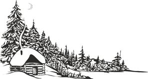 Cabana da caça ilustração do vetor