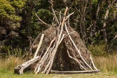 Cabana da madeira lançada à costa da praia Fotos de Stock Royalty Free