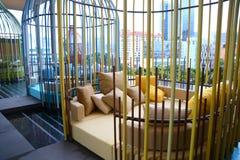 Cabana da piscina no hotel recentemente aberto Pickering de Parkroyal em Singapura do centro Foto de Stock Royalty Free