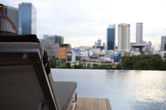 Cabana da piscina no hotel recentemente aberto Pickering de Parkroyal em Singapura do centro Fotografia de Stock Royalty Free