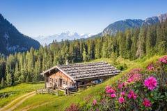 Cabana de madeira da montanha nos cumes, Salzburg, Áustria Fotografia de Stock Royalty Free