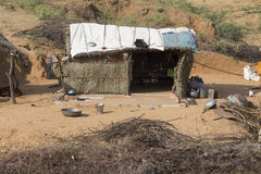 Cabana de Straw Indian Deserto de Thar, Pushkar, Índia Imagens de Stock
