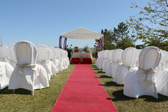 Cabana do casamento e tapete vermelho Imagens de Stock