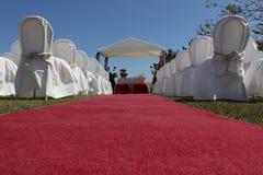 Cabana do casamento e tapete vermelho Imagem de Stock