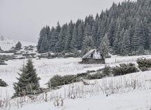 A cabana dos shepperd velhos no inverno Foto de Stock