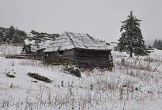 A cabana dos shepperd velhos no inverno Foto de Stock Royalty Free