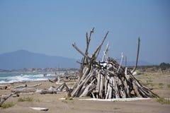 Cabana em uma praia Foto de Stock