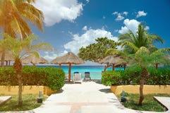 Cabana i tropisk strand royaltyfria foton