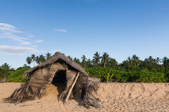 A cabana irônico feita da palma ramifica estando na praia Imagem de Stock